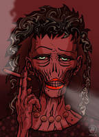 smoking zombie lady by SOLYNK
