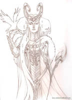 Lady Loki: lineart by Medusa-Dollmaker