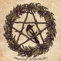 Botanical Pentacle Wreath by Medusa-Dollmaker