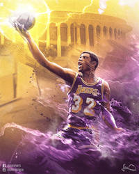 Magic Johnson NBA Poster by skythlee