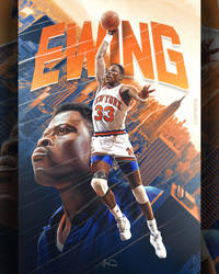Patrick Ewing NBA Poster Art by skythlee