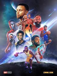 Marvel Avengers x NBA Poster Art by skythlee