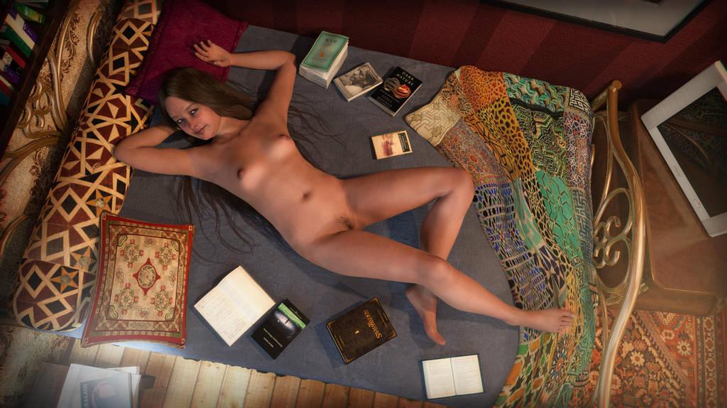 Maria, the book worm. by erogenesisCGI