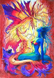 Blue Mermaid and the Snake Dragon by CuriumLanthanum