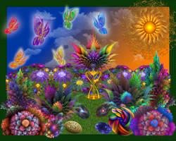 Apo Rainbow Butterfly Garden by wolfepaw
