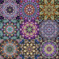 Fractal Kaleidoscope Tiles by wolfepaw
