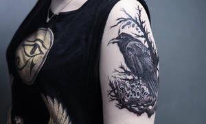 Raven tattoo front view by sHavYpus