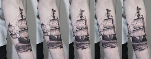 CUSTOM SAILING SHIP SLEEVE TATTOO by sHavYpus