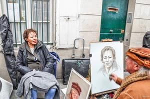 Double portrait in Place du Tertre by Rikitza
