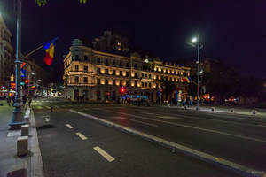 Bucharest my hometown - flags in the night by Rikitza