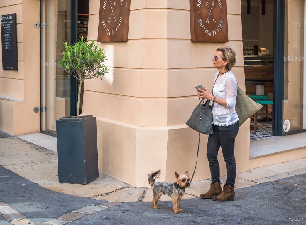 sweet cote d'Azur - madam and dog in Aix by Rikitza