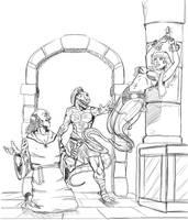WIP Lizard Barbarian Test Cover. by OldNorthridge