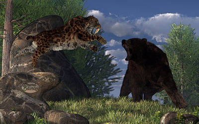 Grizzly vs. Saber-Tooth by deskridge