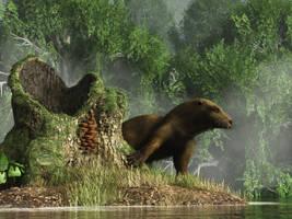 Otter by a Stump by deskridge