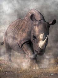 Angry Rhino by deskridge