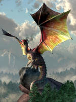 Gold Winged Dragon by deskridge