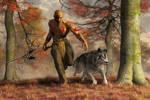 The Wolf Teaching a Man to Hunt by deskridge