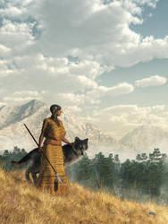Woman with Wolf by deskridge