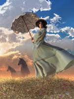 Woman With A Parasol by deskridge