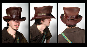 Leather Top Hat by Lastwear
