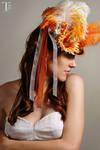 Orange Pinstripe mini top hat by Lastwear