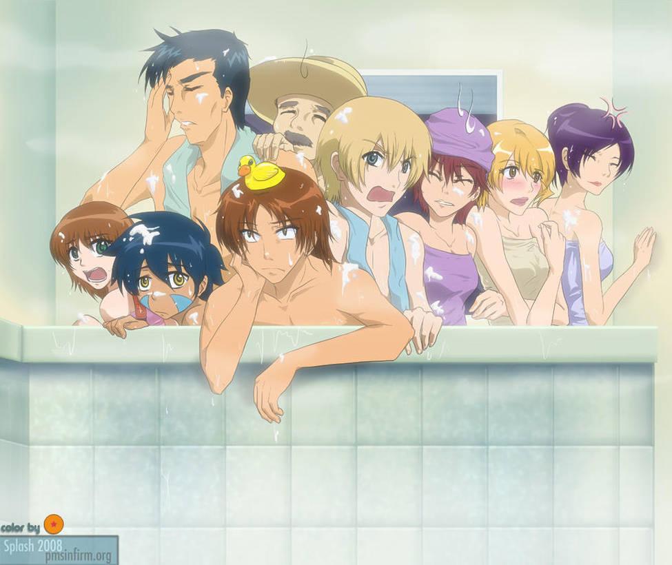 Digimon Savers - Bath Party by splashgottaito