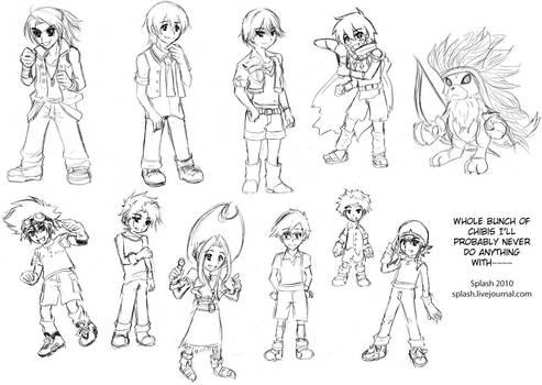 Digimon Chibi Sketch Collage by splashgottaito