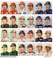 Formula 1 2012 line-up by xelanelho