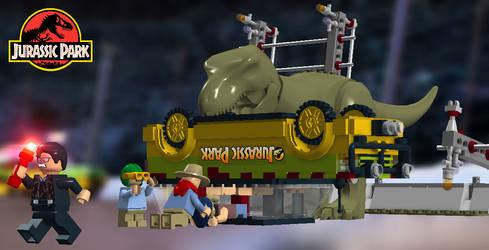 LEGO Jurassic Park - T-Rex Attack by TLK4EVR
