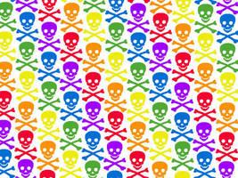 rainbow skulls by princesspoopiedoo