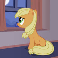 Filly Applejack miss home by ForsakenSharikan