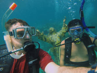 Andres and Me SCUBA Diving off of Key Largo. by ztrashbuckle