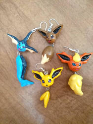 Eeveevolution earrings! by Ctougas01