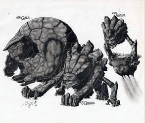 Geodude, Graveler, Golem by Crackdtoothgrin