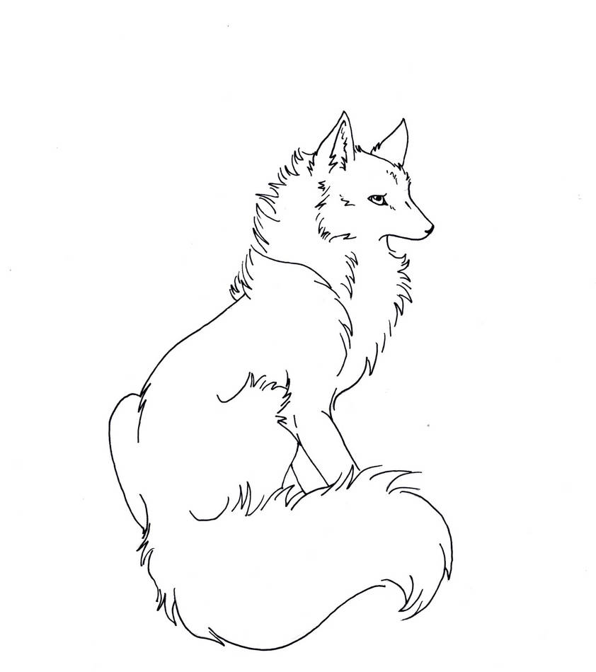 Free Wolf::fox Lineart by Eclipsedwolf