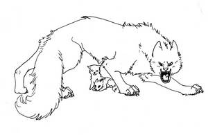 Protective wolf lineart by Eclipsedwolf