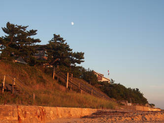 Indian Neck Beach Sunset with Moon by TheMightyQuinn