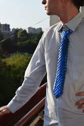 Blue dragon scaled necktie by Ilirej