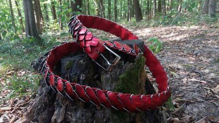 Red scaled belt by Ilirej