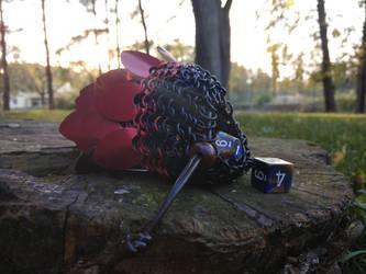Red scaled dice pouch side by Ilirej