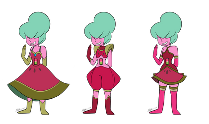 - Watermelon Tourmaline_3 outfits_COMMISSION - by PencilTree