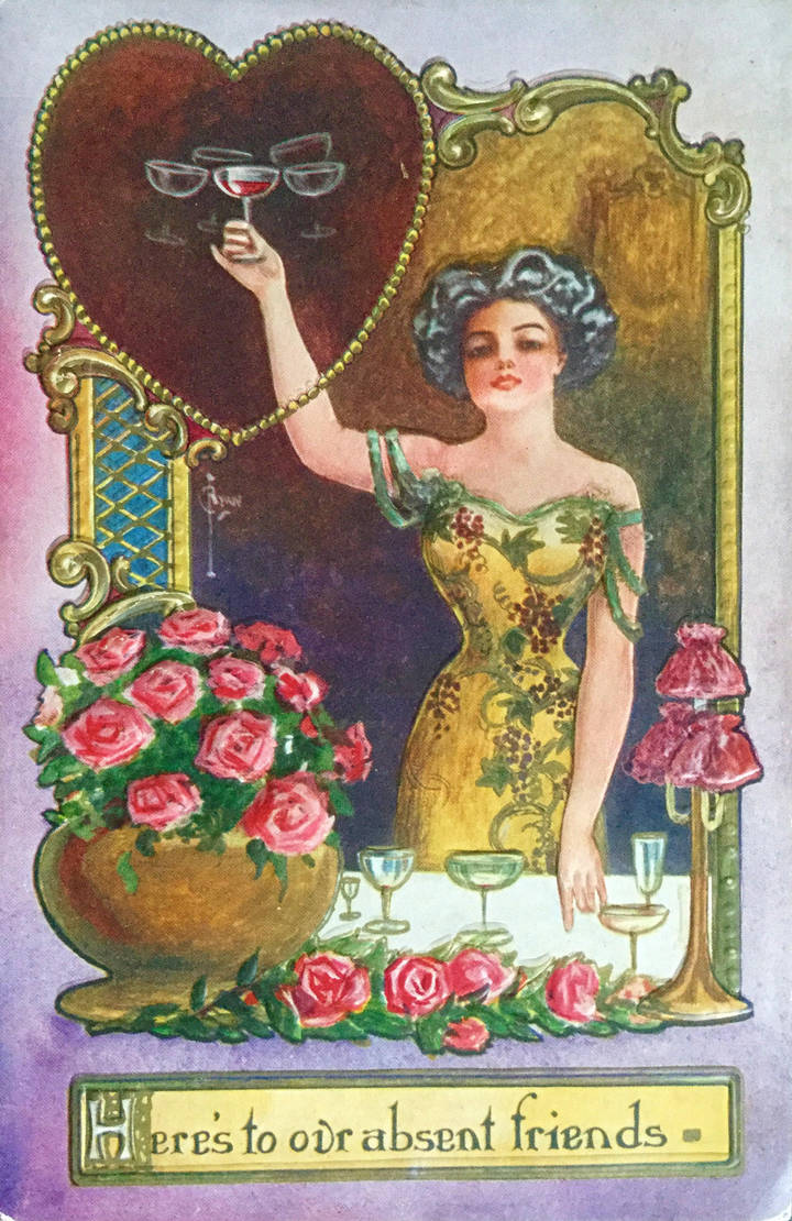 Vintage Postcard - To Absent Friends by KarRedRoses