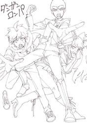 Dangan Ronpa Line Drawing by AkaneAki