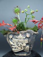 Aztec Windlord Ehecatl Kusamono Display Pot by FireVerseCeramics