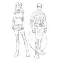 Starfire and Robin by khazen