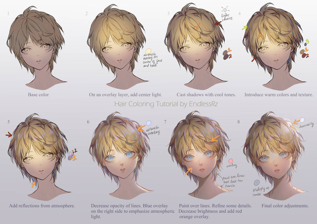 Hair Coloring tutorial by EndlessRz on DeviantArt