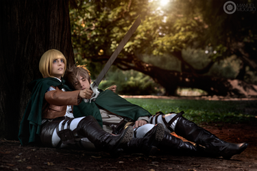 Shingeki No Kyojin ~ Armin protects Jean by Yamato-Leaphere