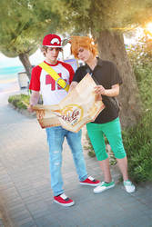 Red and Blue ~ Alola! Pokemon Sun and Moon Cosplay by Yamato-Leaphere