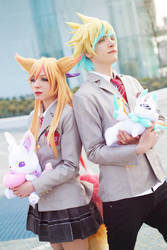 Ahri ~ Ezreal ~ STAR GUARDIAN School Uniform by Yamato-Leaphere