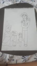 Family picture line art by TwilightAngelKey